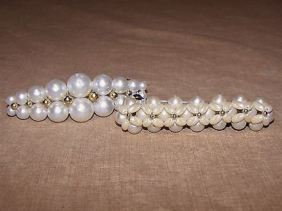 2 Vintage Faux Pearl Gold Beads Silver Barrette Plastic Tied Hair Clip Accessory
