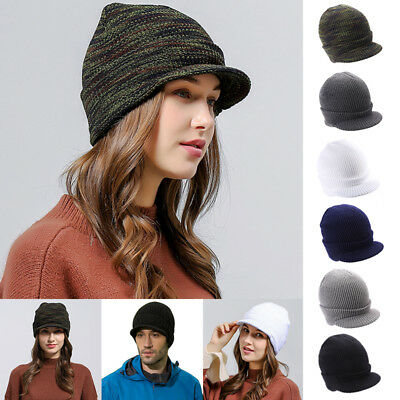 Peaked Beanie Warm Winter Wooly Cadet Army Ski Mens Womens Unisex Cap Hat TP