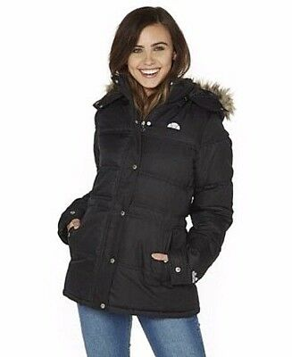 New Ardea Black Jacket Women's L Faux Warm Ellesse Quilted Fur Size wwrxE08q