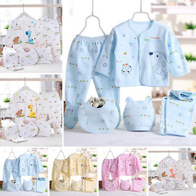 5pcs Baby Boys Girls Unisex Clothing Outfit Tops Leggings Pant Hat Bibs Layette