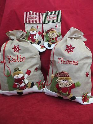 Personalised Hessian Christmas Sack / Stocking - Santa or Snowman