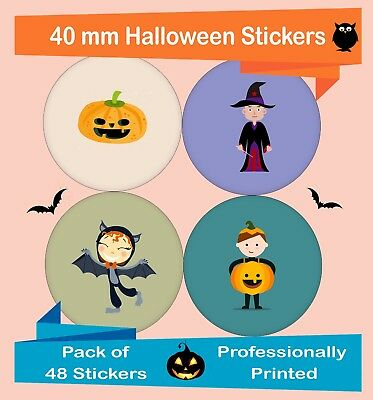 48-Pack 40 mm Halloween Stickers, decorating, party labels, colorful Hal03