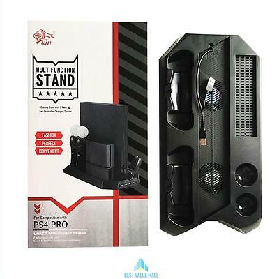 Dual USB Cooling Fan Cooler Stand + Charging Dock Station For PS4 Pro Console UK