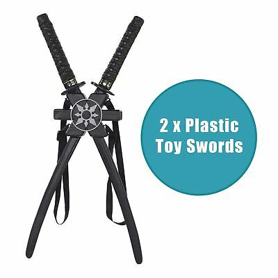 TOY Set Black Plastic Katana Ninja Assassin Warrior Double Swords + Back Holster