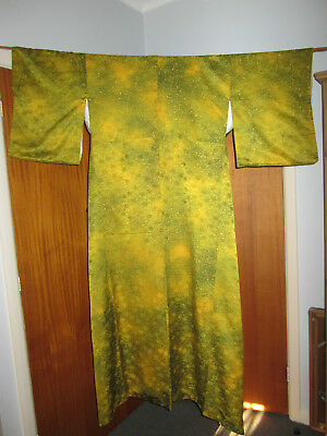 Japanese Kimono, Hand-Stitched, Estate Find. Green/Gold Patterned Silk, Gorgeous
