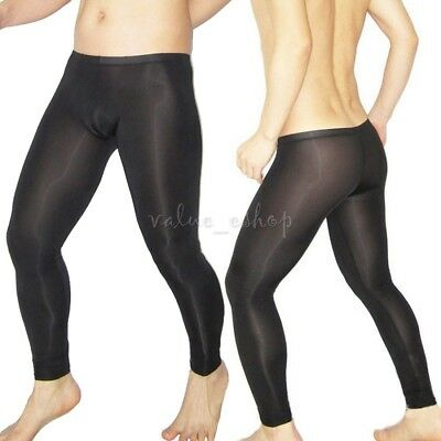 Sexy Mens Mesh Transparent Sheer Long johns Pants Leggings Underpants Trousers
