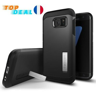 Coque Galaxy S7 Edge [Tough Armor] HEAVY DUTY Noir EXTREME Protection Spigen