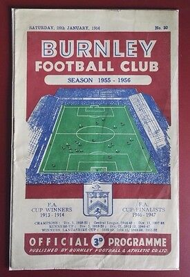 1955-56 BURNLEY vs. CHELSEA  PROGRAMME. FA CUP  MATCH  - GOOD CONDITION FOR AGE