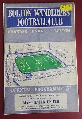 1958-59 BOLTON. vs. MANCHESTER UNITED LEAGUE PROGRAMME - GOOD CONDITION FOR AGE