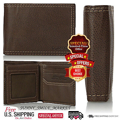 Levis Mens Mighty WALLET Case 100% GENUINE LEATHER ID Credit Card Slots HOLDER