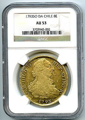 Stunning Gold 1793 So Da 8 Escudos Chile Under Spain Ngc Au-53