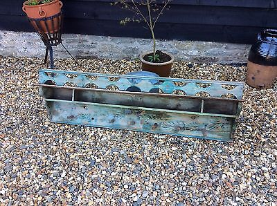 19th Century Hungarian Painted Pine Kitchen Shelf Spices Cups Pegs Loft Chic