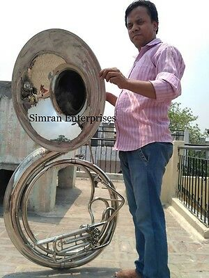 Sousaphone Tuba Horn Jumbo Biggest Size 25 Inch Chrom Polish With Case & Mouthpc