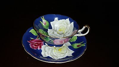 Exquisite Occupied Japan Hand Painted Cup & Saucer - Blue With Roses