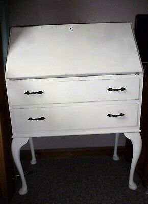 Cream Chalk Painted Bureau In Good Condition - Shabby Chic