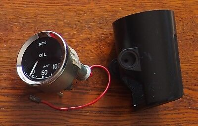 Smiths Oil Pressure gauge, 0-100 PSI, made in UK, electric w pod, NOS c1980