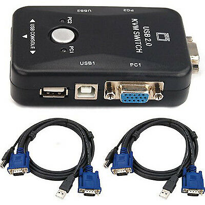 KVM Switch Box 2 Port USB 2.0 Adapter Control up to 2 Computers 2 VGA USB Cables