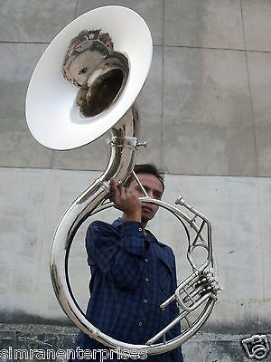 Sousaphone Tuba Horn Professional Size 22 Inch Chrome Polish With Case & Mouthpc