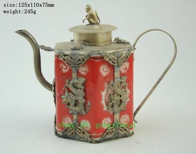 Rare Collection Handmade Old decorated porcelain Tibet Silver Monkey Teapot