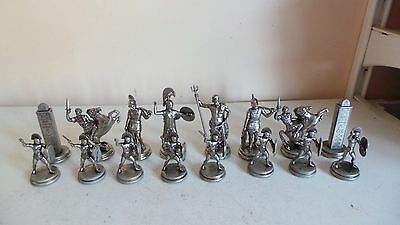 16 Cast Metal Romans Chess Pieces for Replacement Parts, Crafts Made in Greece