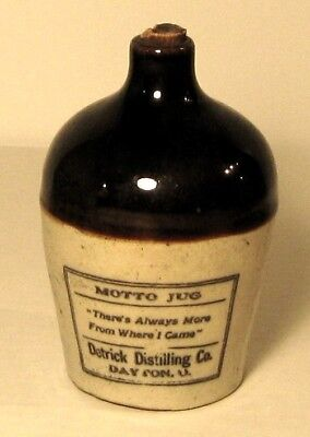 Detrick Distilling Mini Motto Stoneware Whiskey Jug, w/ Rare Label, circa 1900