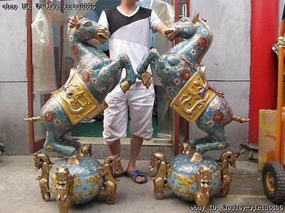 China Royal Bronze Copper Cloisonne  four Dragon Foot Horse War Horse steed Pair