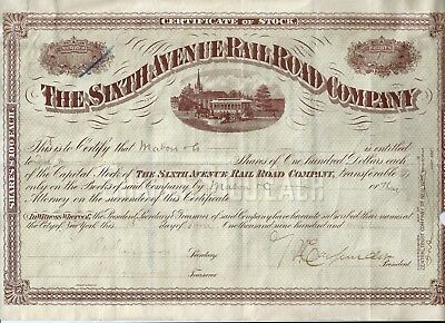 The Sixth Avenue Rail Road Company Stock Certificate 1914 - New York City
