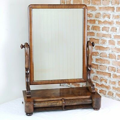 Antique Original Victorian Mahogany 2 Drawer Dressing Table Toilet Mirror C1860