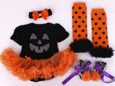 Baby Girl Halloween Bling Pumpkin Outfit Set Fancy dress Costume Cute Present