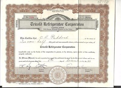 1933 Tricold Refrigerator Corp. New York NY. Stock Certificate 2.5 Shares #238