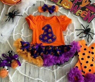 Baby Girl Halloween WitchHat Pumpkin Outfit Set Fancy dress Costume Cute Present