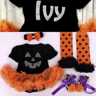 Personalised Baby Girl Halloween Bling Pumpkin Outfit Set Fancy dress Costume