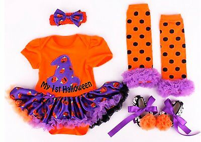 Baby Girl My 1st Halloween Witch Hat Pumpkin Outfit Set Fancy dress Cute Newborn