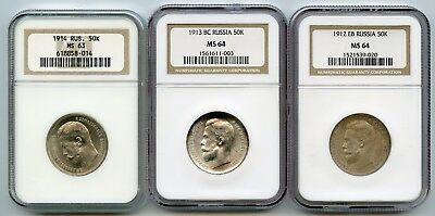Russia Collectors Set 50 kopecks 1912-1913-1914 NGC MS63-MS64