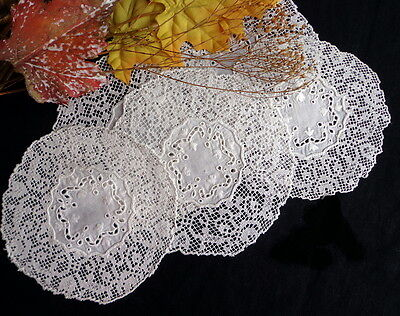 SET 5 Antique Broderie Anglaise & Handmade Filet Lace Wedding Goblet Coasters