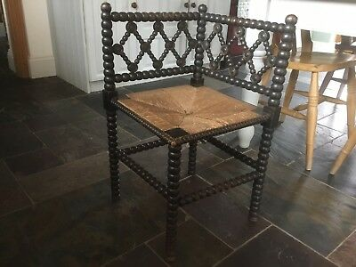 Antique Arts Crafts Bobbin Turned Corner Chair Victorian Side Hall Bedroom Chair