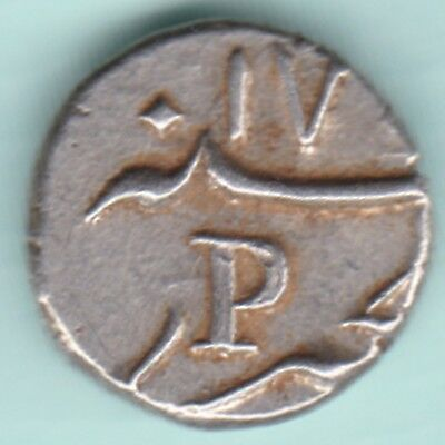 French India - 'p' For Pondicherry Mint - 1/5 Rupee - Ex Rare Silver Coin
