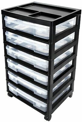 Black 6 Drawer Scrapbook Craft Cart Rolling Plastic Storage Case Paper Organizer