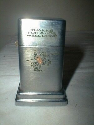 Vintage Zippo Barcroft Knight On Horse Etan Table Lighter