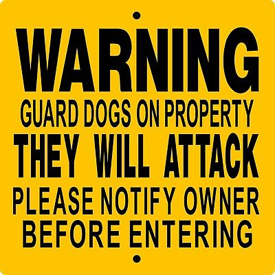 "GUARD DOG SIGN,9"" x 9"" ALUMINUM,NO TRESPASSING,Security,Gate,Fence,WGDOP9x9"