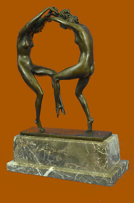 Bronze Sculpture Hot Cast Two Nude Girl Dancing Titled Mask Dance Figurine Decor