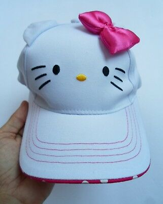 Hello Kitty, Adjustable, Hat Cap, White W/pink Bow, Youth, Osfm, 100% Cotton,exc