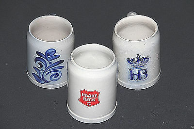 Three 3 vintage German Stoneware Steins Mugs 2 Blue & Gray 1 Red & Gray