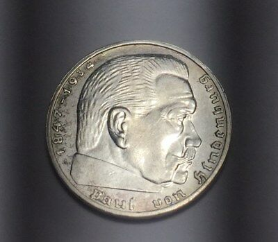 1939-A Germany 2 Mark Silver German Coin Uncirculated