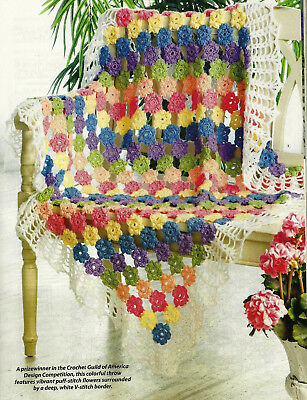 Behind The Picket Fence Afghan Crochet PATTERN INSTRUCTIONS from a magazine c