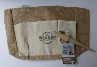 Garden Tool Bag Hessian Handle Pockets and Wooden Dibber