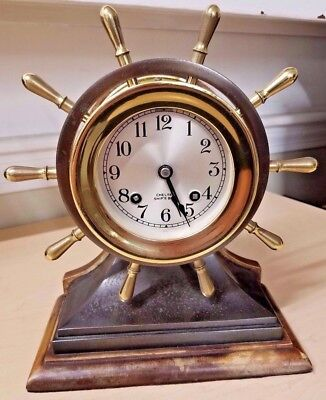 Vintage Chelsea Commander Nautical Ship's Bell Wheel Brass/Bronze Mantel Clock
