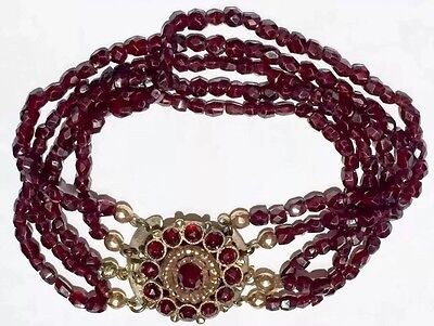 Georgian to Victorian 14k gold rose cut garnet multistrand bracelet