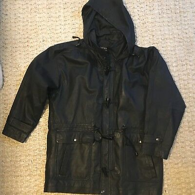 WILSONS  Heavy Black Leather Jacket size Med M hooded zip Toggle button Coat Men