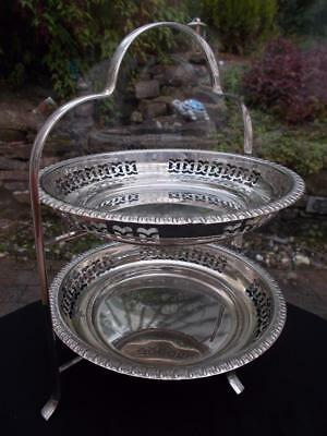 1930S Art Deco 2 Tier Silver Plated Cake Stand Original Reticulated Platters